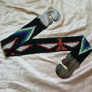 Accessories - Beaded stretchy belt Aztec boho Native Americans